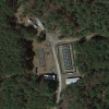 An overhead view of the mesocosm facility in the Duke Forest